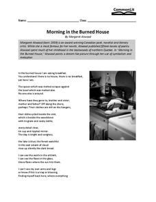 Morning in the Burned House Worksheet for 11th - 12th Grade | Lesson