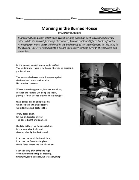 Morning in the Burned House Worksheet