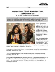 More Facebook Friends, Fewer Real Ones, Says Cornell Study Worksheet