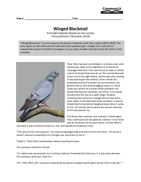 Winged Blackmail Worksheet for 11th - 12th Grade | Lesson Planet