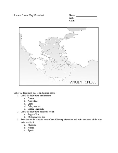 Ancient Greece Map Worksheet Worksheet for 6th   8th Grade