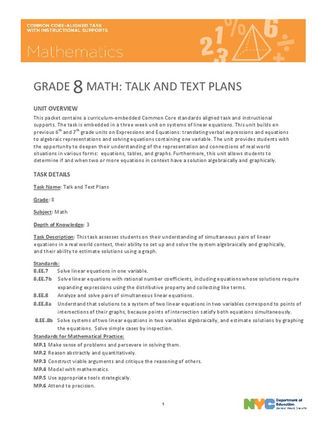 Talk and Text Plans Unit