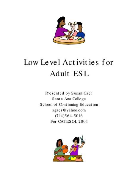 Low Level Activities for Adult ESL Worksheet