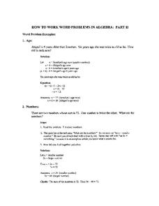 How To Work Word Problems in Algebra Worksheet