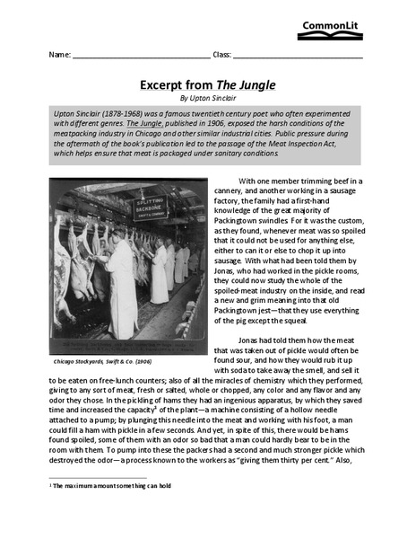 the jungle by upton sinclair worksheet answers breadandhearth. Black Bedroom Furniture Sets. Home Design Ideas