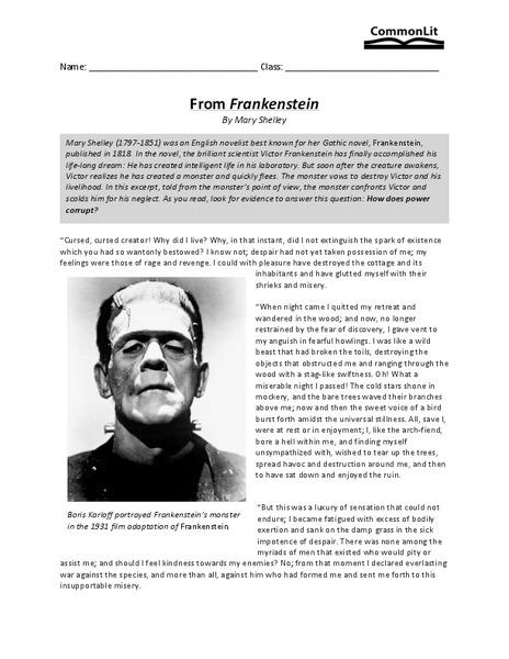From Frankenstein Worksheet For Th  Th Grade  Lesson Planet