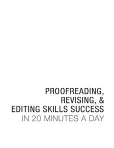 Proofreading, Revising, & Editing Skills Success Worksheet