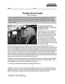 The Big Trip Up Yonder Worksheet for 8th - 11th Grade | Lesson Planet