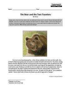 The Bear and the Two Travelers Worksheet