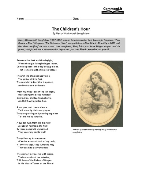 The Children's Hour Worksheet