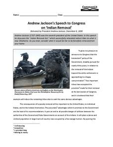 Andrew Jackson's Speech to Congress on Indian Removal Worksheet