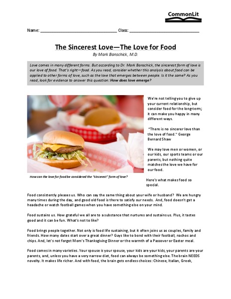 The Sincerest Love—The Love for Food Worksheet