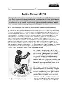 Fugitive Slave Act of 1793 Worksheet