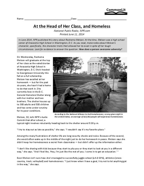 At the Head of Her Class, and Homeless Worksheet