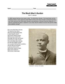 The Black Man's Burden Worksheet