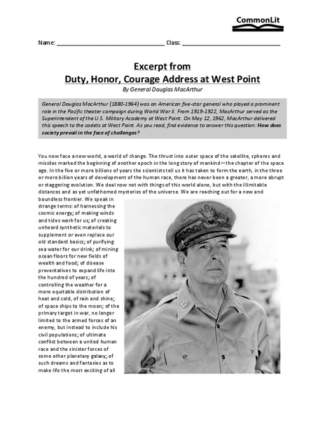 Excerpt from Duty, Honor, Courage Address at West Point Worksheet
