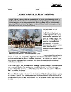 Thomas Jefferson on Shay's Rebellion Worksheet