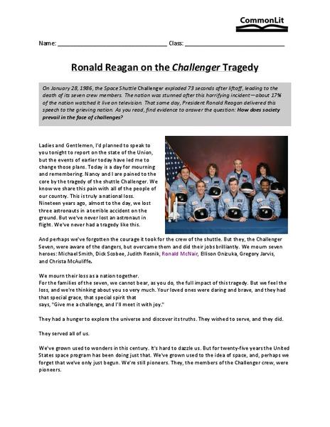 rhetorical analysis ronald reagan challenger speech Get your most competitive political rhetoric  speech on the challenger disaster by ronald reagan the  rhetorical analysis on president ronald reagans.