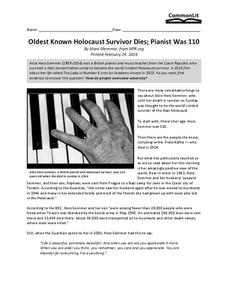 Oldest known Holocaust Survivor Dies; Pianist Was 110 Worksheet