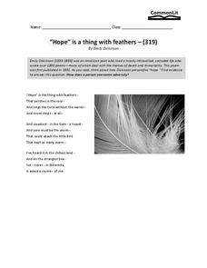hope is a thing with feathers worksheet for 7th 8th grade lesson planet. Black Bedroom Furniture Sets. Home Design Ideas