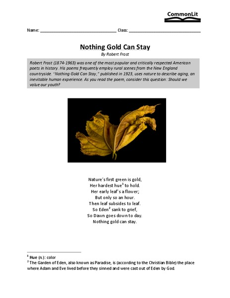 Nothing Gold Can Stay Worksheet