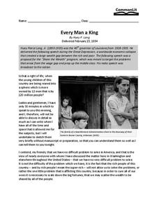Every Man a King Worksheet