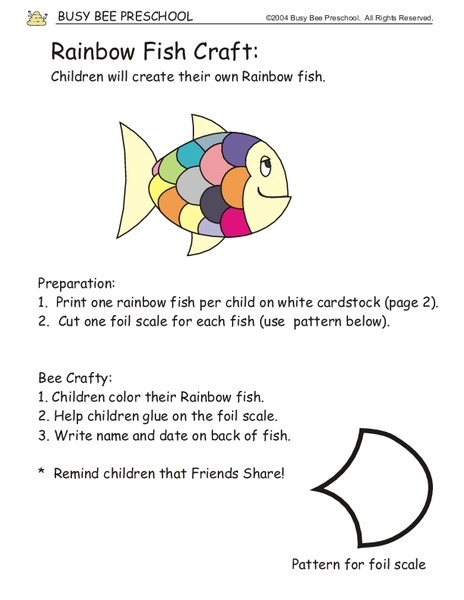 Rainbow Fish Craft Activities & Project