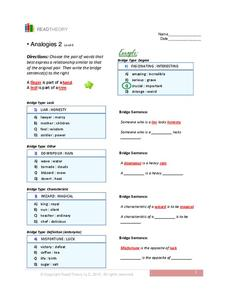 Analogies 2 (Level 6) Worksheet