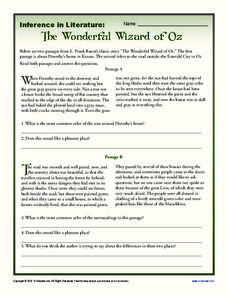 Inference in Literature: The Wizard of Oz Worksheet