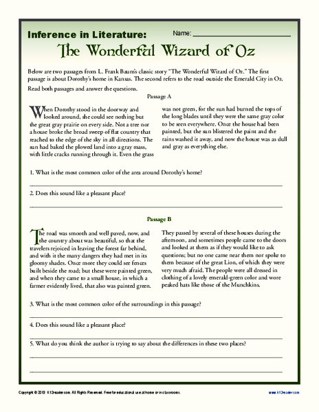 Inference in Literature: The Wizard of Oz 6th - 8th Grade ...