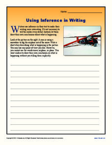 Using Inference in Writing Worksheet