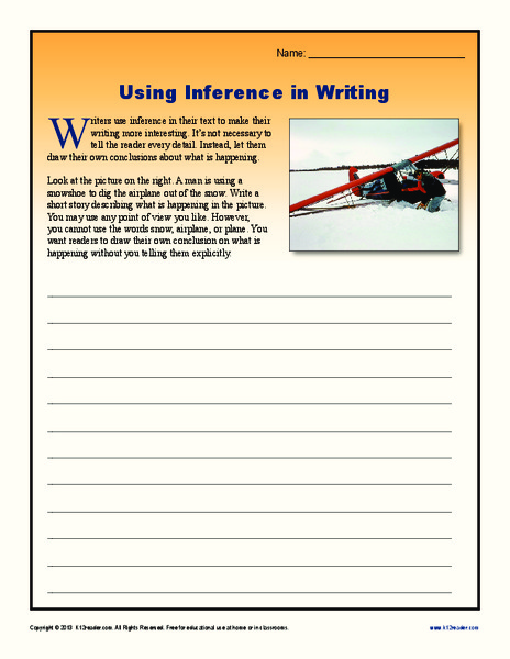 using inference in writing worksheet for 9th 12th grade lesson planet. Black Bedroom Furniture Sets. Home Design Ideas