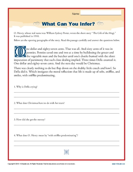 What Can You Infer? Worksheet