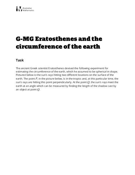 Eratosthenes and the Circumference of the Earth Activities & Project