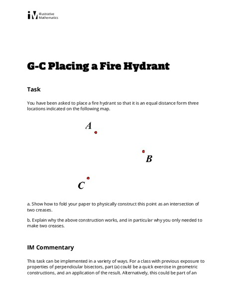 Placing a Fire Hydrant Activities & Project