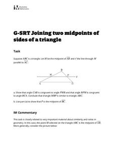 Joining Two Midpoints of Sides of a Triangle Activities & Project