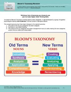 Bloom's Taxonomy Revision (Old vs. New) Printables & Template
