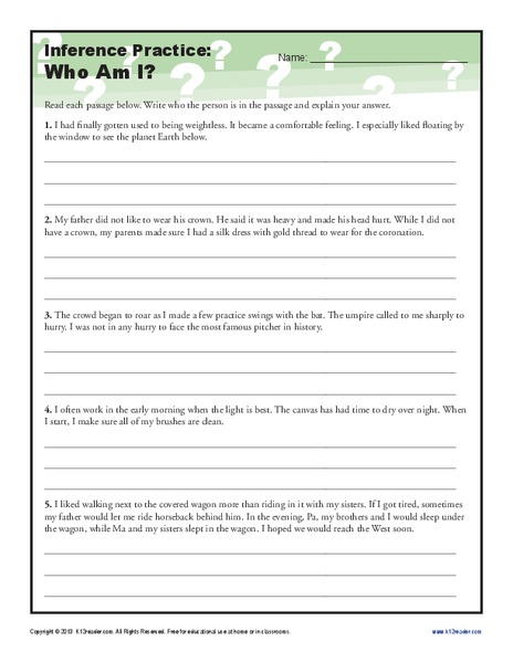 Inference Practice: Who Am I? Worksheet