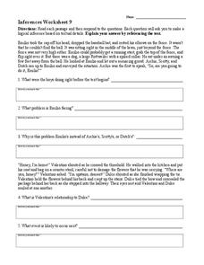 Inferences Worksheet 9 Worksheet For 4th 8th Grade Lesson Planet