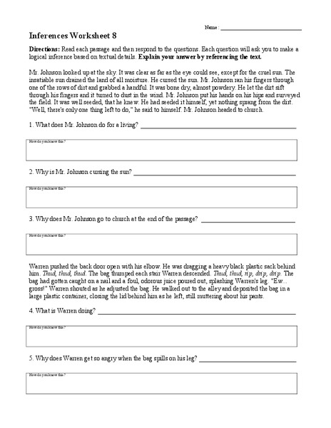 Worksheets Inferencing Worksheets 5th Grade inferences worksheet 8 4th 8th grade lesson planet