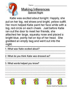Making Inferences Special Night (12) Worksheet