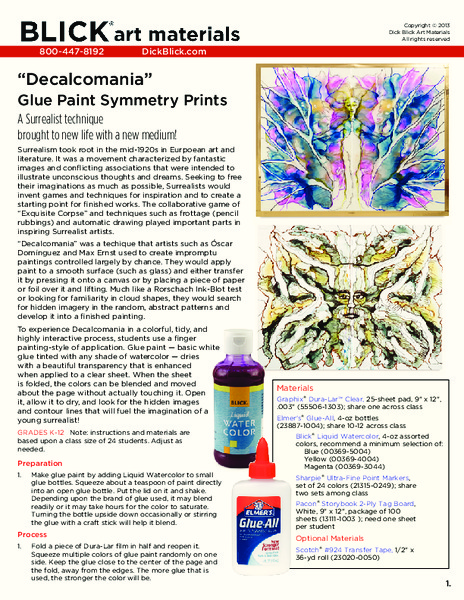"""Decalcomania"" Glue Paint Symmetry Prints Lesson Plan"