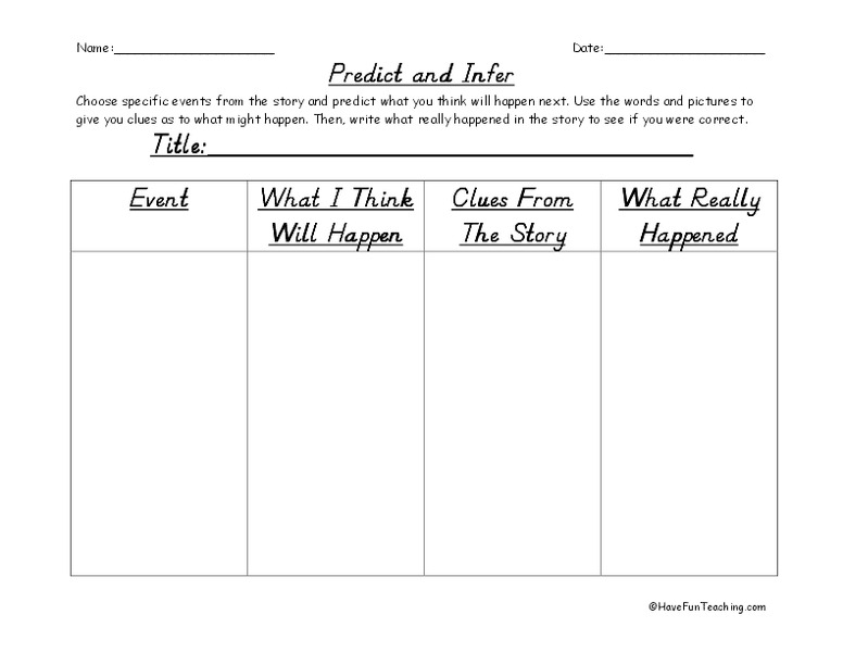 Reading Predicting Outcomes Lesson Plans Worksheets – Inference Worksheets Middle School