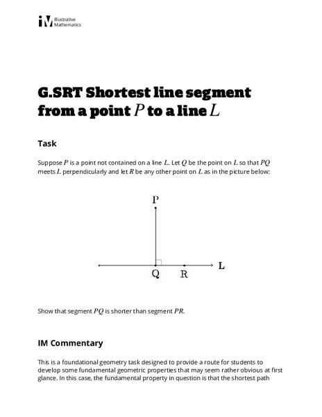 Shortest Line Segment from a Point P to a Line L Activities & Project