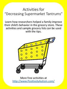 "Activities for ""Decreasing Supermarket Tantrums"" Printables & Template"