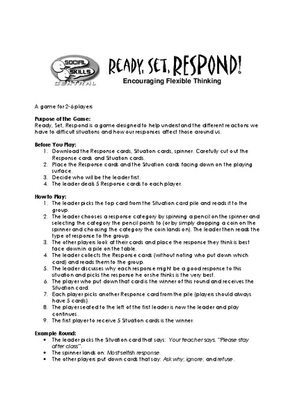 Ready, Set, Respond! Activities & Project