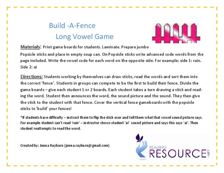 Build-A-Fence Long Vowel Game Activities & Project