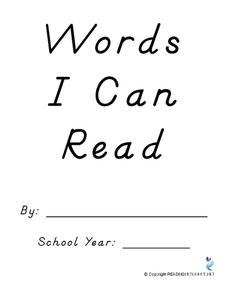 Words I Can Read Printables & Template