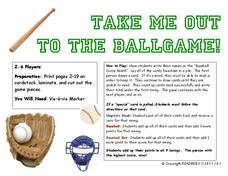 Take Me Out to the Ballgame Card Game Activities & Project
