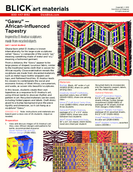 """Gawu"" — African-influenced Tapestry Lesson Plan"